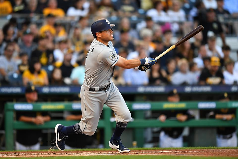 PITTSBURGH, PA - JUNE 21:  Ian Kinsler #3 of the San Diego Padres in action during the game against the Pittsburgh Pirates at PNC Park on June 21, 2019 in Pittsburgh, Pennsylvania. (Photo by Joe Sargent/Getty Images)