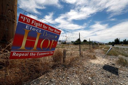 A campaign sign for Dennis Hof, a legal brothel owner who recently won the Republican primary election for Nevada State Assembly District 36, is shown along a road in Pahrump, Nevada, U.S. June 15, 2018. Picture taken June 15, 2018. REUTERS/Steve Marcus