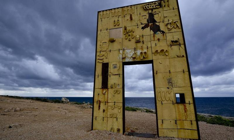 A view of the Gateway to Europe (Porta d'Europa) by Italian artist Mimmo Paladino, a monument dedicated to migrants which was vandalised in June.