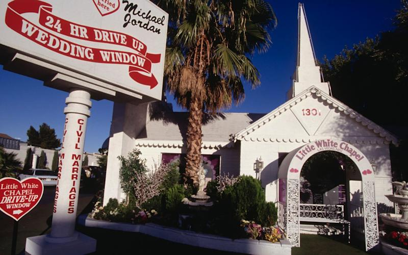 A Little White Wedding Chapel in Las Vegas - Corbis Historical