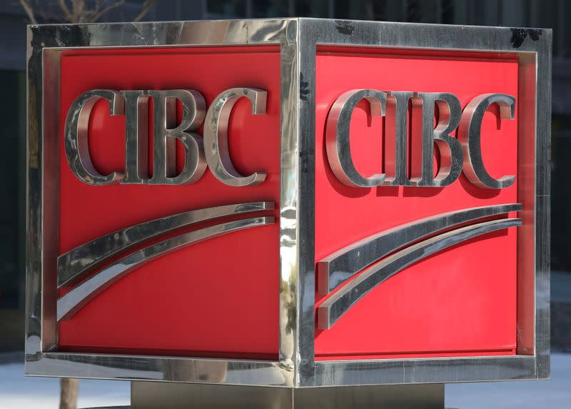 FILE PHOTO: The CIBC logo is seen outside their Bay Street headquarters in Toronto