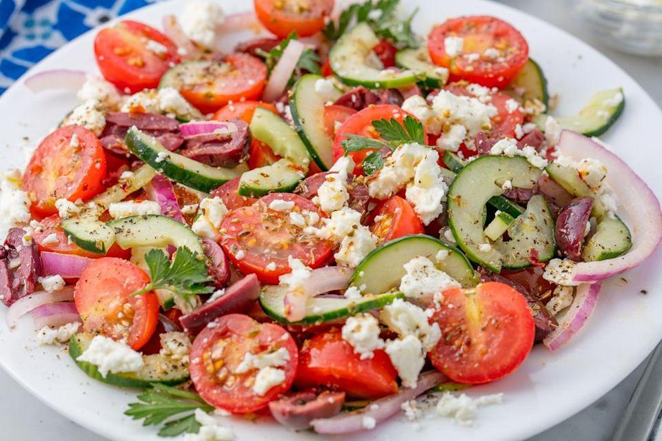 """<p><span>There's so much more to healthy salad than <a href=""""https://www.delish.com/uk/cooking/recipes/g30700699/kale-recipes/"""" rel=""""nofollow noopener"""" target=""""_blank"""" data-ylk=""""slk:kale"""" class=""""link rapid-noclick-resp"""">kale</a> and <a href=""""https://www.delish.com/cooking/g3456/healthy-chicken-recipes/"""" rel=""""nofollow noopener"""" target=""""_blank"""" data-ylk=""""slk:chicken"""" class=""""link rapid-noclick-resp"""">chicken</a>. Here, we list a ton of our absolute favorites—from totally health-conscious options to some that are a little more indulgent. </span></p><p><span>You know what goes great with salad? Soup. And luckily, we've got </span><a href=""""https://www.delish.com/cooking/nutrition/g660/healthy-soups-myplate/"""" rel=""""nofollow noopener"""" target=""""_blank"""" data-ylk=""""slk:50 amazing soup recipes"""" class=""""link rapid-noclick-resp"""">50 amazing soup recipes</a><span> for you.</span></p>"""