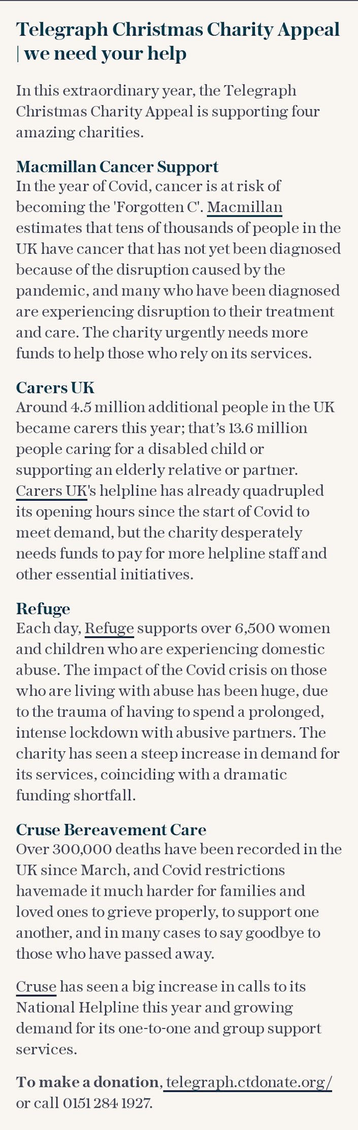 Telegraph Christmas Charity Appeal | we need your help