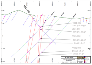 Cross Section with VB21-013 and interpreted zones