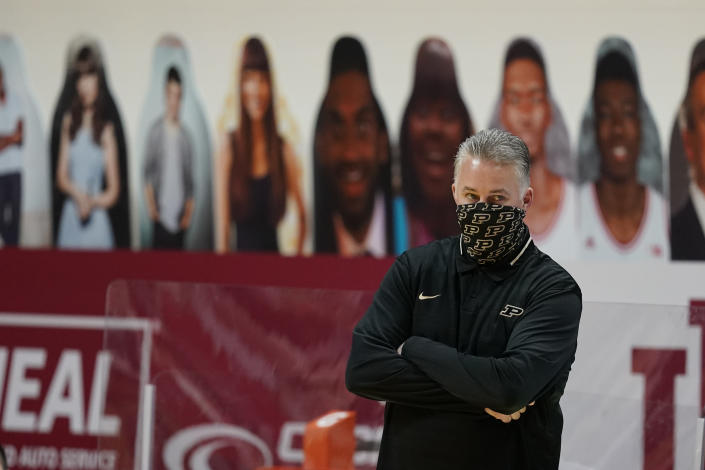 Purdue coach Matt Painter watches during the first half of the team's NCAA college basketball game against Indiana, Thursday, Jan. 14, 2021, in Bloomington Ind. (AP Photo/Darron Cummings)