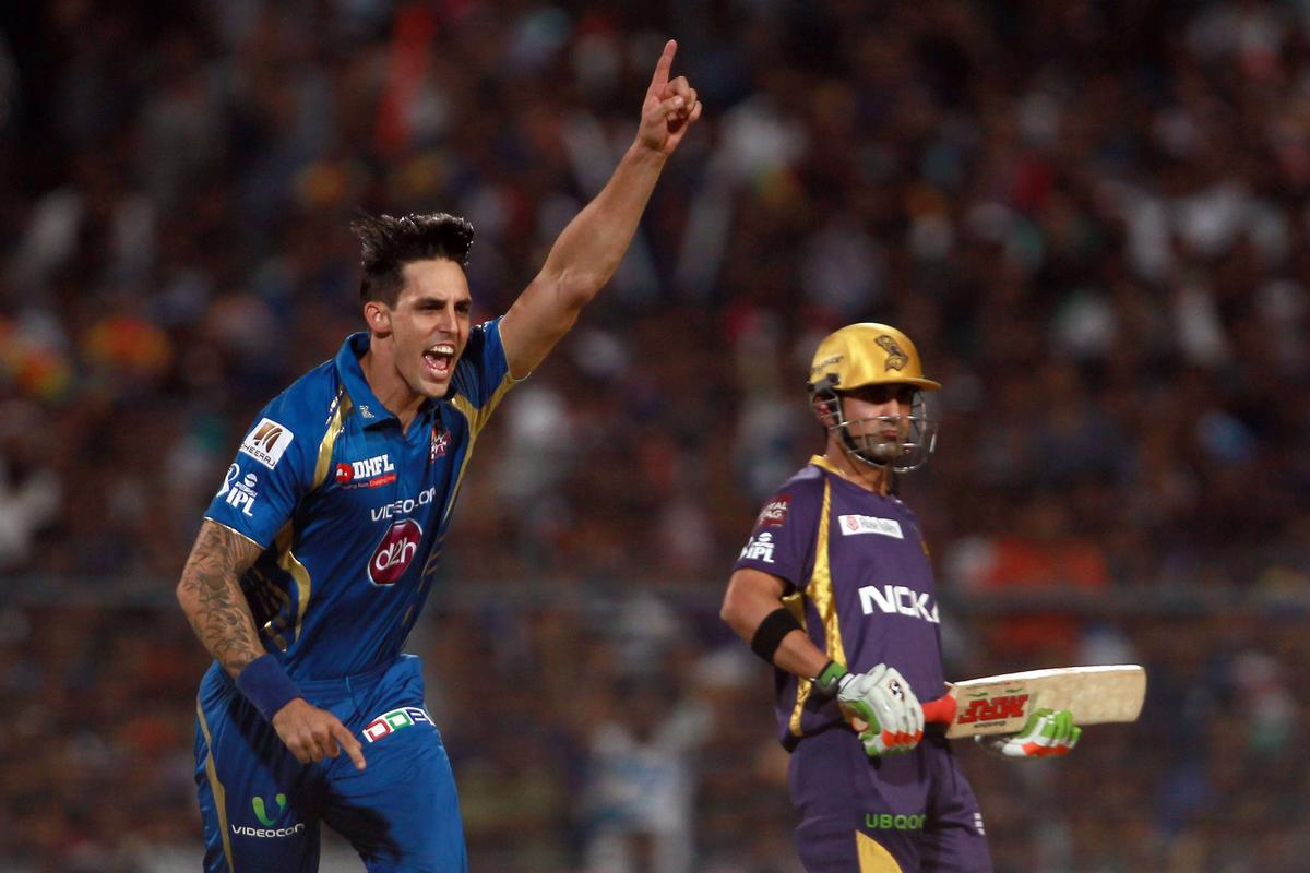Mitchell Johnson celebrates the wicket of Yusuf Pathan during match 33 of the Pepsi Indian Premier League between The Kolkata Knight Riders and The Mumbai Indians held at Eden Gardens Stadium, Kolkata on the 24th April 2013. Photo by Jacques Rossouw-IPL-SPORTZPICS   ..Use of this image is subject to the terms and conditions as outlined by the BCCI. These terms can be found by following this link:..https://ec.yimg.com/ec?url=http%3a%2f%2fwww.sportzpics.co.za%2fimage%2fI0000SoRagM2cIEc&t=1495901358&sig=LmZiJKBb2wz3Jl5QWjhqNw--~C
