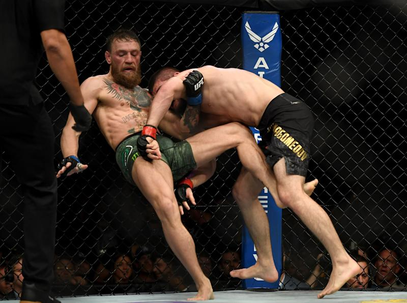 LAS VEGAS, CA - OCTOBER 06: Khabib Nurmagomedov takes down Conor McGregor during UFC 229 at the T-Mobile Arena in Las Vegas, Nev. Friday, Oct. 6, 2018. (Photo by Hans Gutknecht/Digital First Media/Los Angeles Daily News via Getty Images)