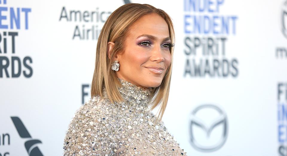 J Lo's sparkly face mask has been a social media hit. (Getty Images)