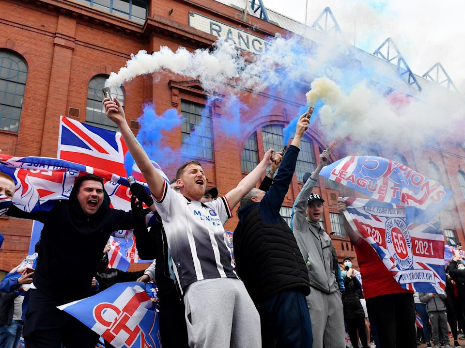 Rangers fans celebrate outside the club's Ibrox Stadium (Getty Images)