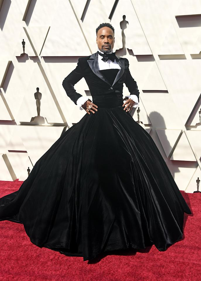 """""""Billy Porter in the Christian Siriano tuxedo gown was interesting because it was the arrival of gender-blurring fashion on the red carpet in this really massive, explosive, very mainstream way. I think that people had toyed with it, perhaps, a bit, but this was a statement that you couldn't ignore. And he did it with an incredible amount of panache and fun. It was a moment that stood out for the average viewer.""""—Robin Givhan, fashion critic at the <a href=""""https://www.washingtonpost.com/people/robin-givhan/""""><em>Washington Post</em></a>"""