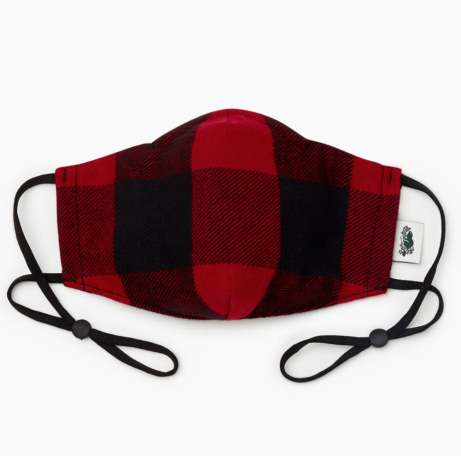 Park Plaid Reusable Face Mask in Cabin Red. Image via Roots.