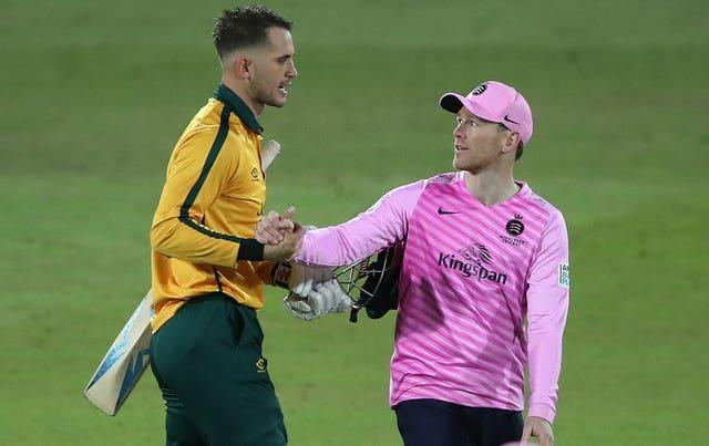 Eoin Morgan, right, seemed to pour cold water on Alex Hales working his way into England's T20 World Cup squad (Nick Potts/PA)
