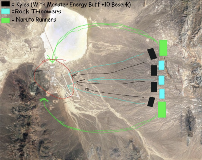 """Image from the """"Storm Area 51"""" Facebook group outlining a mock plan of attack."""