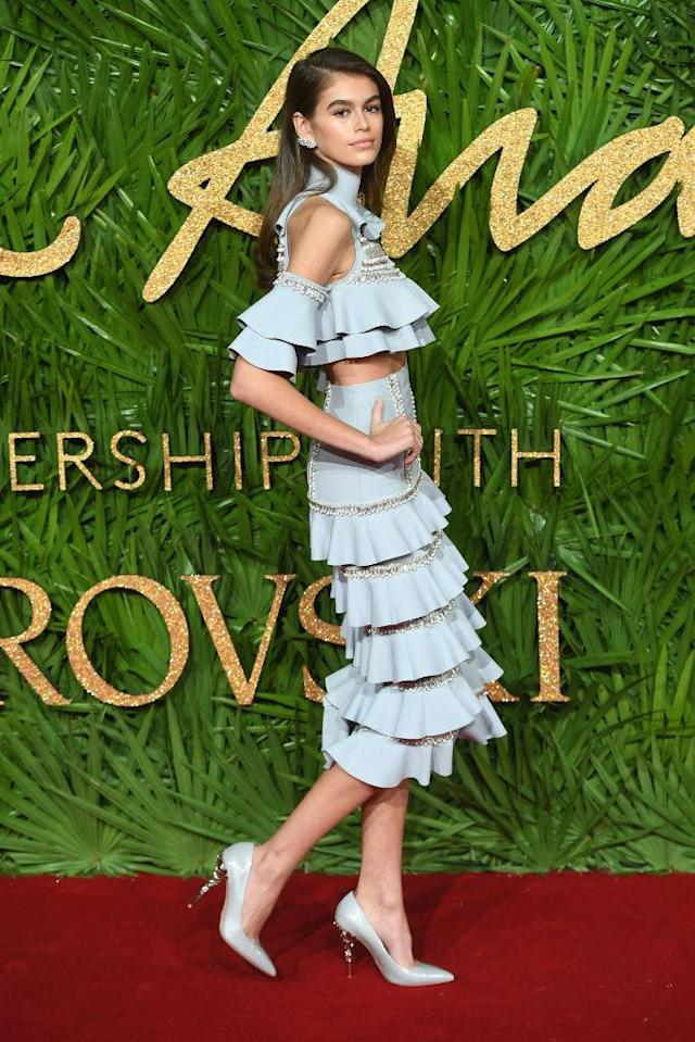 <p>Kaia Gerber looked darling in a baby blue ruffle ensemble. (Photo: Getty Images) </p>