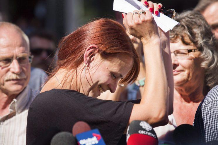 <p>Three years after her husband Tim Bosma mysteriously vanished, Sharlene Bosma celebrated outside a Hamilton courtroom in June when she heard the guilty verdicts for Dellen Millard and Mark Smich. The pair were found guilty of first-degree murder in the Ontario man's death and sentenced to 25 years in prison, but both have appealed the decision. Photo from The Canadian Press</p>