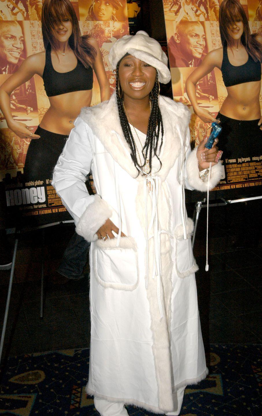 <p>Not only did Missy wear white after Labor Day to the November premiere of <em>Honey</em>, she wore all the white she could find, including a floor-length coat and a fuzzy, oversize newsboy cap.</p>