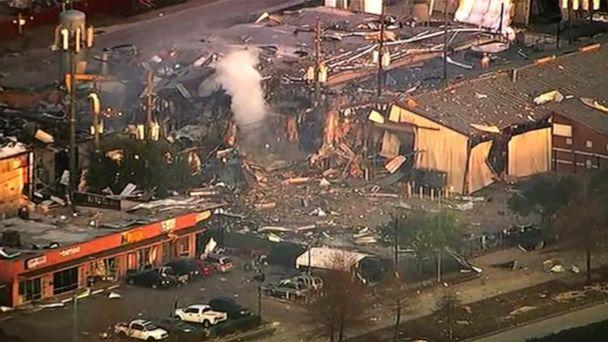 PHOTO: Buildings damaged after an explosion in Houston, Jan. 24, 2020. A large explosion left rubble scattered in the area, damaged nearby homes and was felt for miles away. (KTRK via AP)