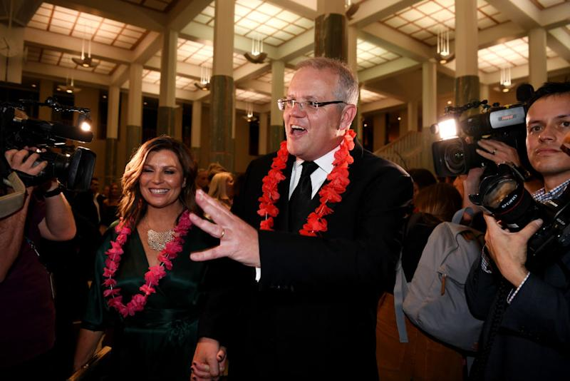 Prime Minister Scott Morrison and his wife Jenny Morrison attends the annual press gallery Midwinter Ball at Parliament House on September 18, 2019 in Canberra, Australia. (Photo by Tracey Nearmy/Getty Images)