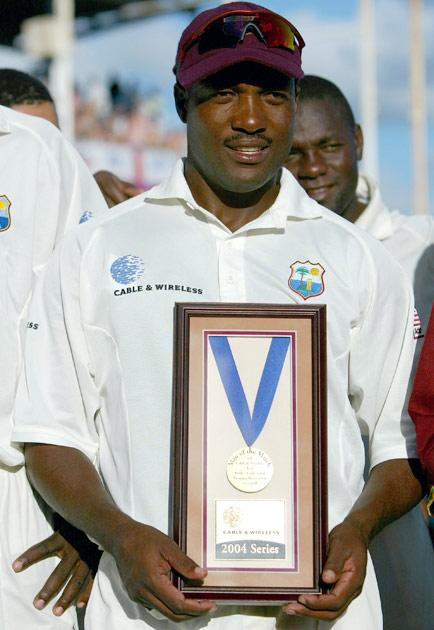 ST JOHNS, ANTIGUA - APRIL 14:  Brian Lara with his 'Man of the Match' medal at the end of day five of the 4th Test match between the West Indies and England at the Recreation Ground, on April 14, 2004, in St Johns, Antigua. (Photo by Clive Rose/Getty Images)
