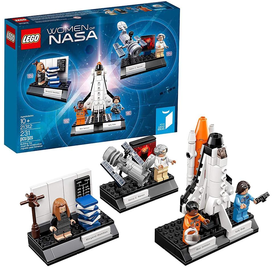 """<p><strong>LEGO</strong></p><p>amazon.com</p><p><strong>$42.95</strong></p><p><a href=""""https://www.amazon.com/dp/B071W77MBJ?tag=syn-yahoo-20&ascsubtag=%5Bartid%7C10054.g.34039580%5Bsrc%7Cyahoo-us"""" rel=""""nofollow noopener"""" target=""""_blank"""" data-ylk=""""slk:Buy"""" class=""""link rapid-noclick-resp"""">Buy</a></p><p>It's a big year for space. Hilary Swank is a TV astronaut, <em>Dune</em> and its sandworms will be revived, and long-overlooked Venus is emitting signs of life. Without these women—Sally Ride and Mae Jemison, Nancy Grace Roman, and Margaret Hamilton—we'd know a lot less about it. They make great desk decor, once you're done building.<br></p>"""