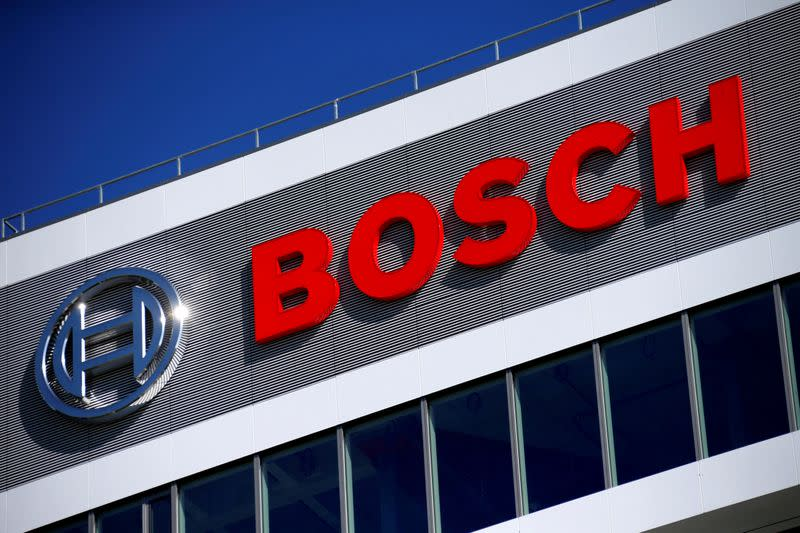 FILE PHOTO: The Robert Bosch logo at the company's research and development centre in Renningen