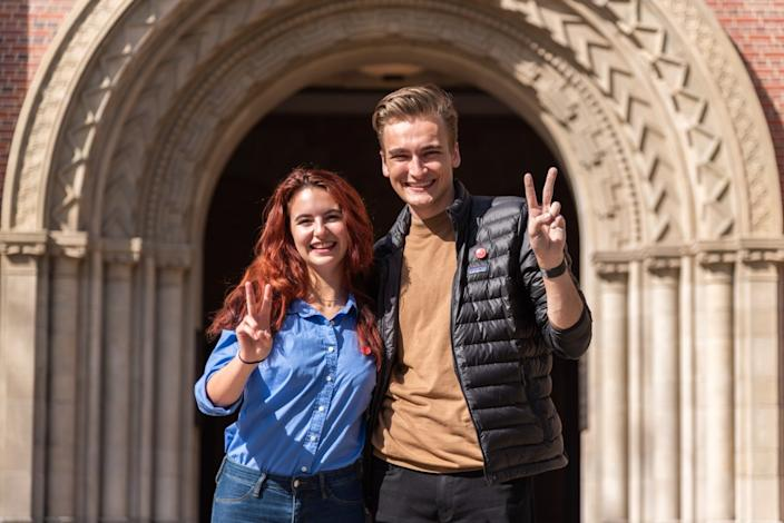 Undergraduate Student Government Vice President Rose Ritch and former USG President Truman Fritz
