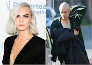 """<p><b>When: April 26, 2017</b><br>On Wednesday, the """"Suicide Squad"""" actress was spotted on set in Toronto completely bald! The hair transformation is for her upcoming movie """"Life in a Year,"""" where she plays a woman dying of cancer. <i> (Photos: Getty (L)/<a href=""""https://ca.style.yahoo.com/cara-delevingne-shaved-her-head-215151816.html"""" data-ylk=""""slk:Splash News;outcm:mb_qualified_link;_E:mb_qualified_link;ct:story;"""" class=""""link rapid-noclick-resp yahoo-link""""> Splash News </a> (R)) </i> </p>"""