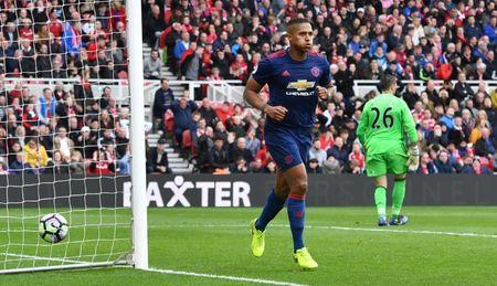 Britain Soccer Football - Middlesbrough v Manchester United - Premier League - The Riverside Stadium - 19/3/17 Manchester United's Antonio Valencia celebrates scoring their third goal Reuters / Anthony Devlin Livepic
