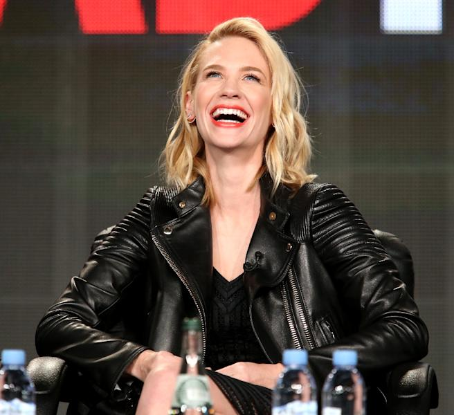 Actress January Jones speaks onstage during the 'Mad Men' panel at the AMC portion of the 2015 Winter Television Critics Association press tour at the Langham Hotel on January 10, 2015 in Pasadena, California (AFP Photo/Frederick M. Brown)