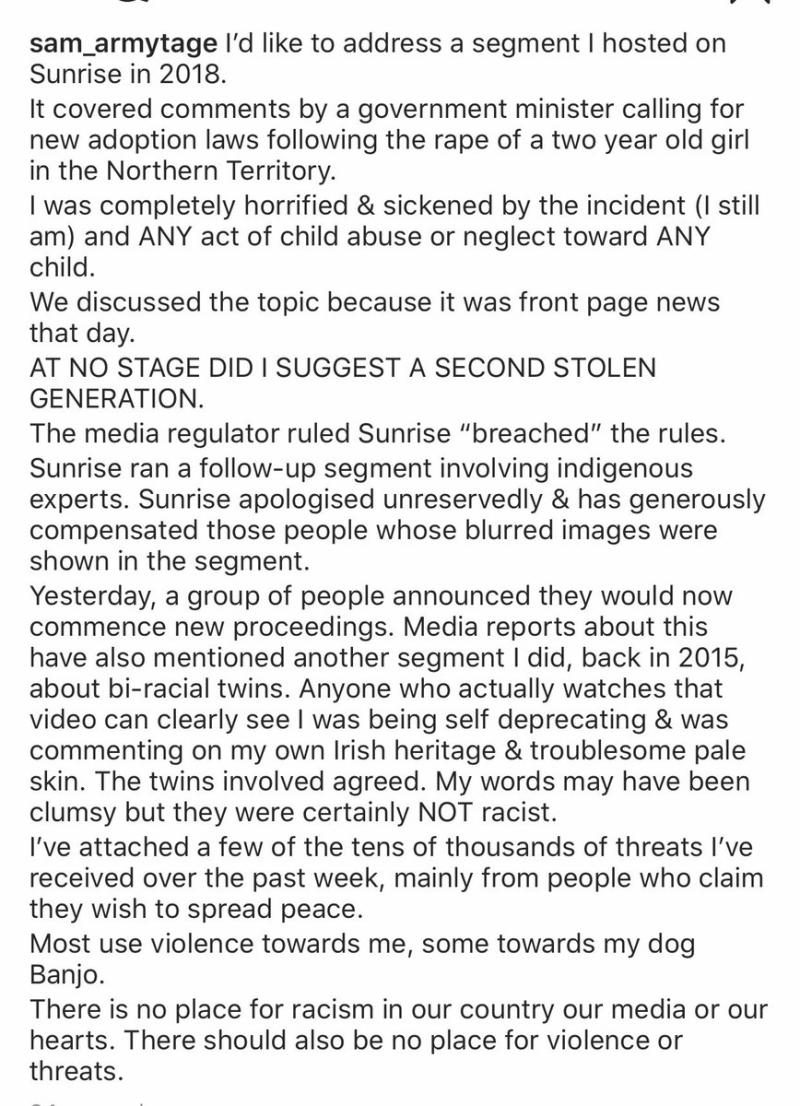Sam Armytage addressed accusations of racism on Twitter. Photo: Twitter/sam_armytage.