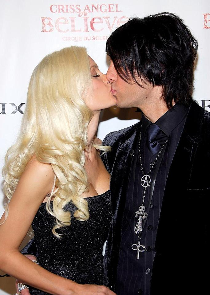 "Holly Madison congratulates Criss Angel with a kiss at the premiere of his Cirque du Soleil spectacular in Las Vegas. Bruce Gifford/<a href=""http://www.filmmagic.com/"" target=""new"">FilmMagic.com</a> - October 31, 2008"