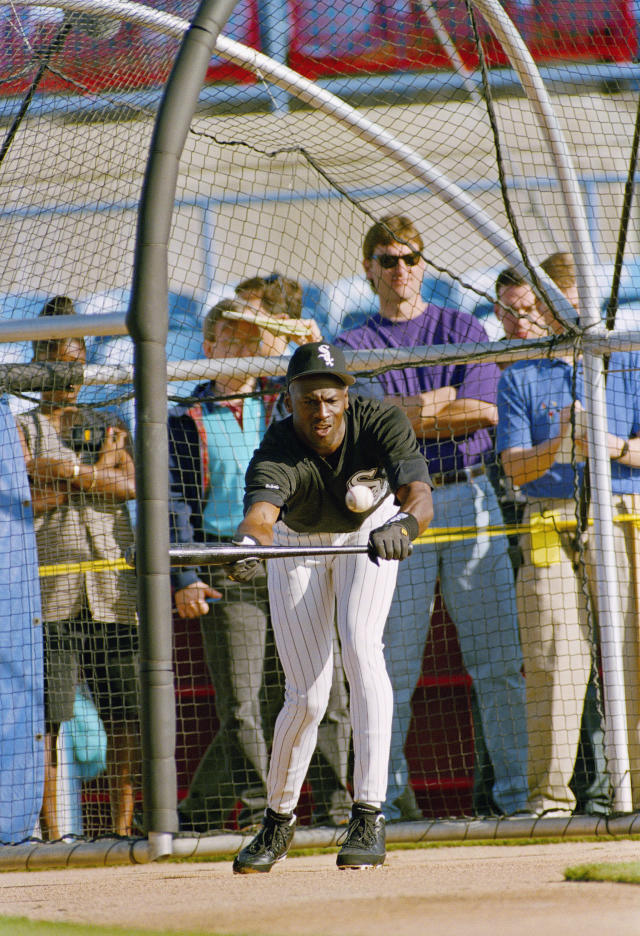 Michael Jordan squares to bunt during a two-hour workout at the Chicago White Sox spring training camp in Sarasota, Fl., Tuesday, Feb. 15, 1994. (AP Photo/John Swart)