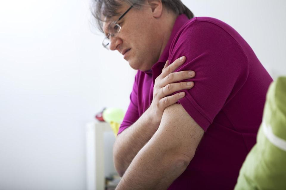 While some men having a heart attack—86 percent, to be exact—experience chest pain as a symptom, others feel the agonizing discomfort of myocardial infarction in their shoulder. In the same 2013 Canadian study, 41 percent of male heart attack patients said that they experienced pain in either their left arm or shoulder.