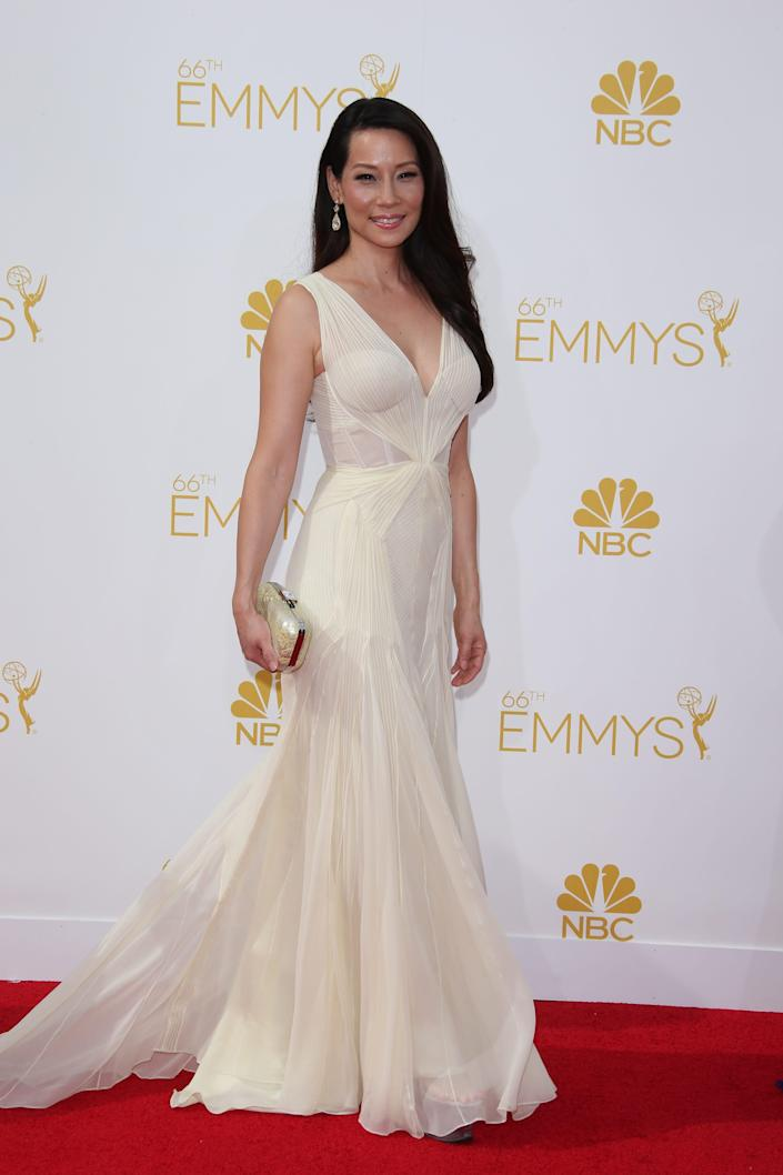Lucy Liu arrives at the Emmy Awards in 2014.
