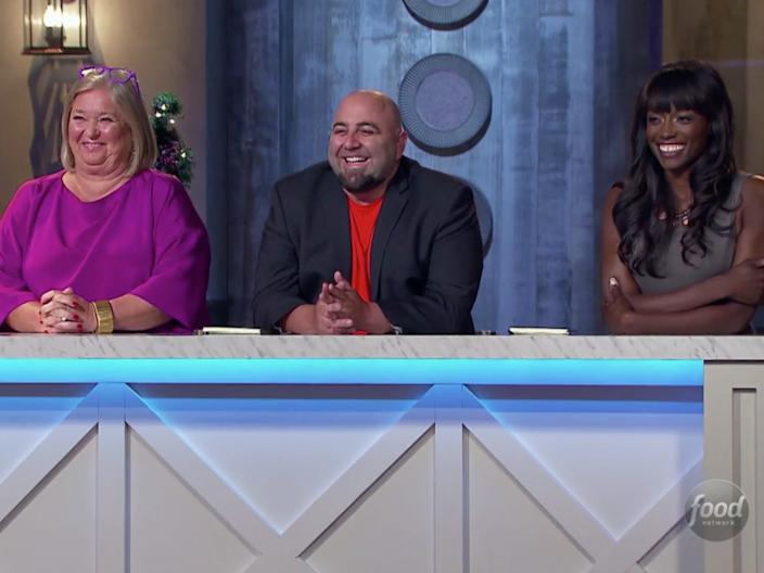 """Nancy Fuller, Duff Goldman, and Lorraine Pascale on """"Holiday Baking Championship."""" <p class=""""copyright"""">Food Network</p>"""