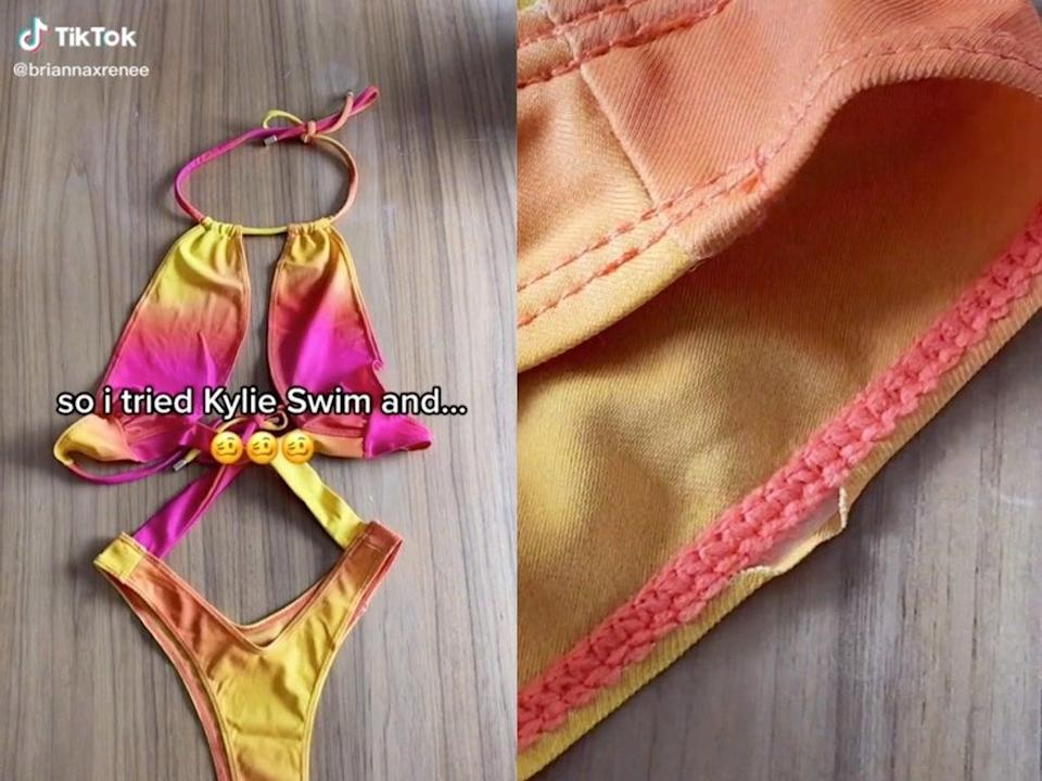 Kylie Jenner called out over quality of new swimwear brand (TikTok / @briannaxrenee)