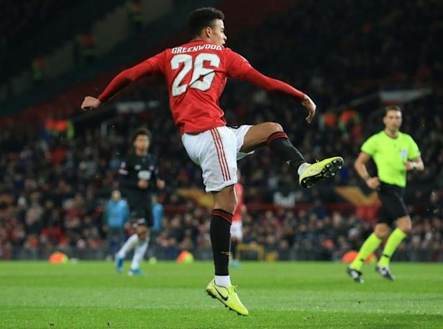 Mason Greenwood's second goal came with a crisp left-foot strike (AFP Photo/Lindsey Parnaby)