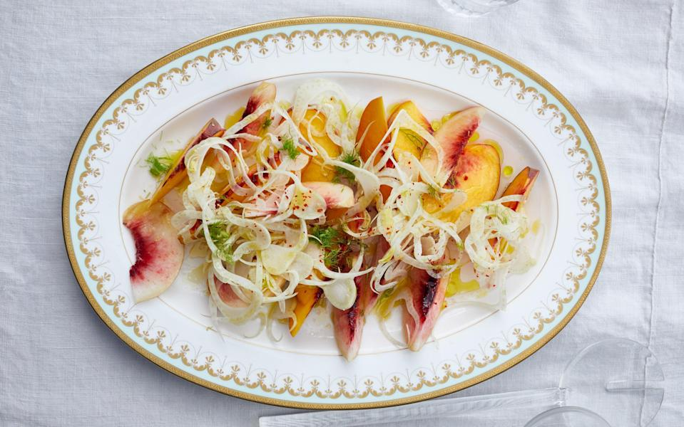 "There's no reason to make this savory fruit salad unless the peaches you have are worth celebrating or you can get your hands on some superb nectarines. Make breakfast an occasion by serving this salad alongside <a href=""https://www.bonappetit.com/recipe/breakfast-calzones?mbid=synd_yahoo_rss"" rel=""nofollow noopener"" target=""_blank"" data-ylk=""slk:breakfast calzones"" class=""link rapid-noclick-resp"">breakfast calzones</a>, <a href=""https://www.bonappetit.com/recipe/marinated-beans-with-celery-and-ricotta-salata?mbid=synd_yahoo_rss"" rel=""nofollow noopener"" target=""_blank"" data-ylk=""slk:marinated beans with ricotta salata"" class=""link rapid-noclick-resp"">marinated beans with ricotta salata</a>, and <a href=""https://www.bonappetit.com/recipe/torta-pasqualina?mbid=synd_yahoo_rss"" rel=""nofollow noopener"" target=""_blank"" data-ylk=""slk:torta pasqualina."" class=""link rapid-noclick-resp"">torta pasqualina.</a> <a href=""https://www.bonappetit.com/recipe/peaches-and-shaved-fennel-salad-with-red-pepper?mbid=synd_yahoo_rss"" rel=""nofollow noopener"" target=""_blank"" data-ylk=""slk:See recipe."" class=""link rapid-noclick-resp"">See recipe.</a>"