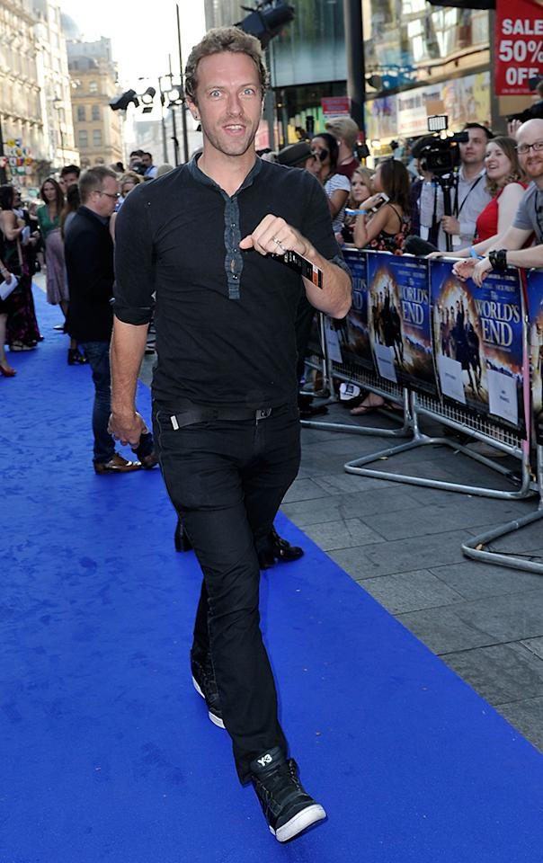 LONDON, ENGLAND - JULY 10:  Chris Martin of Coldplay attends the World Premiere of The World's End at Empire Leicester Square on July 10, 2013 in London, England.  (Photo by Gareth Cattermole/Getty Images for Universal Pictures)