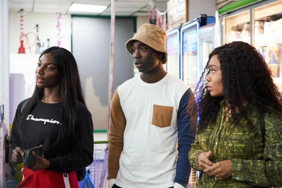 Michaela Coel, Paapa Essiedu and Weruche Opia in 'I May Destroy You' (BBC)