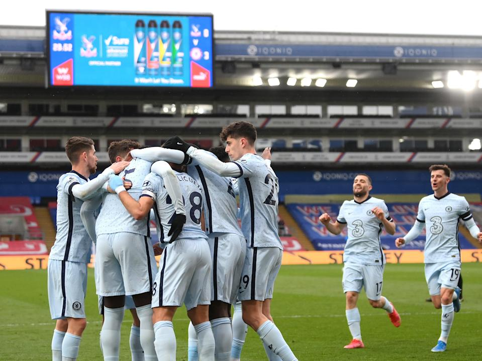 Chelsea players celebrate during a statement win at Crystal Palace (Getty Images)