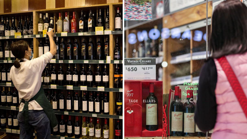 Australian wine featured in Chinese bottle stores. (Source: Getty)