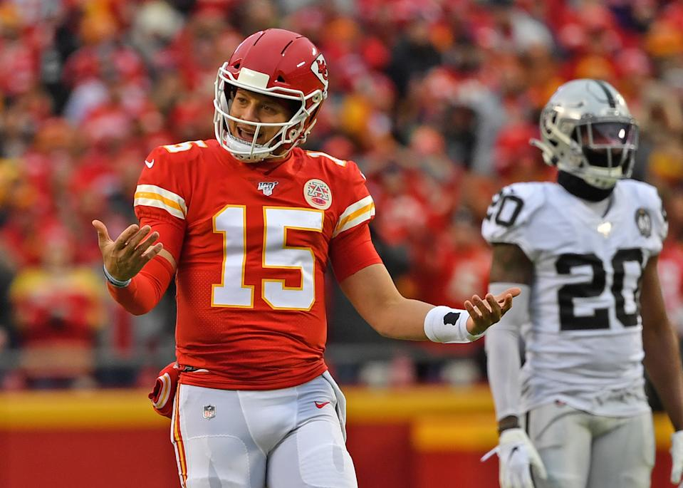 Quarterback Patrick Mahomes had an interception erased on a pass interference call. (Photo by Peter Aiken/Getty Images)