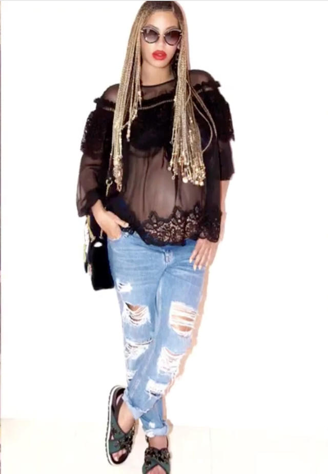 "<p>Cool mama! Again with the ripped jeans, but this time a sheer, black draped top. (Photo: <a href=""https://www.instagram.com/p/BTrgtabAP2l/?taken-by=beyonce"" rel=""nofollow noopener"" target=""_blank"" data-ylk=""slk:Beyoncé via Instagram"" class=""link rapid-noclick-resp"">Beyoncé via Instagram</a>) </p>"