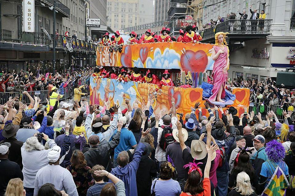 """<p>Just use the magic words: """"Throw me something, mister!"""" as floats pass by, and watch as krewe members happily toss you beads and toys. </p>"""