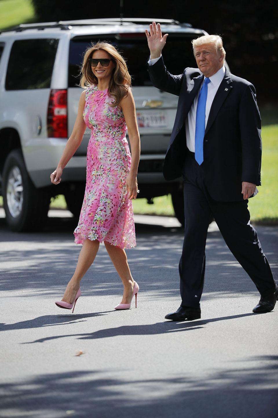 <p>It's rare to see the first lady wearing a print, but at her husband's rally in Youngstown, Ohio, Melania chose a bright floral dress by Monique Lhuillier. </p>