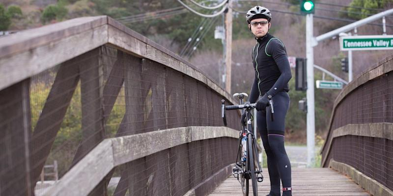 Max Levchin cyclist on bridge in Milley Valley California