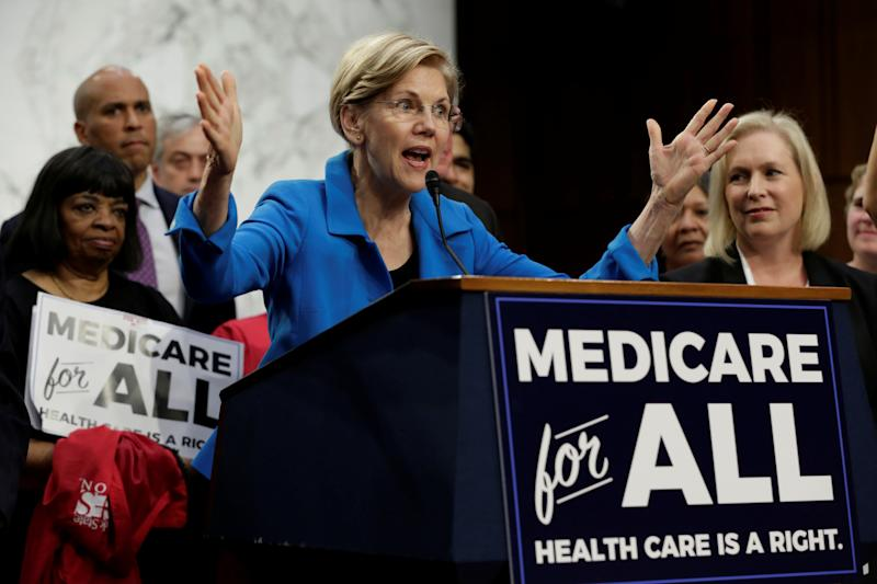 "Senator Elizabeth Warren (D-MA) speaks during an event to introduce the ""Medicare for All Act of 2017"" on Capitol Hill in Washington, U.S., September 13, 2017. REUTERS/Yuri Gripas"