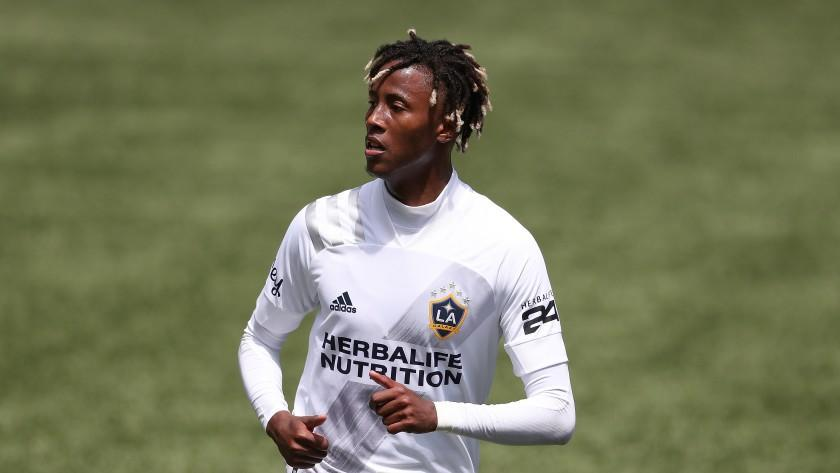 Galaxy midfielder Kevin Cabral plays against the Portland Timbers on May 22, 2021, in Portland, Ore.