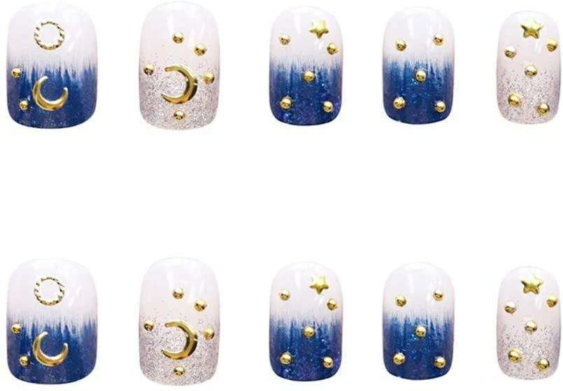 <p>If you're all about the celestial life, these <span>Xerling Glossy Square Gold Moon and Stars Blue Gradient Press On Nails</span> ($8) are out-of-this-world gorgeous. The set features a glittery blue and white gradient base with gold moons and star accents. </p>